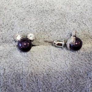Mickey Mouse Metallic purple pearl Agate CZ studs